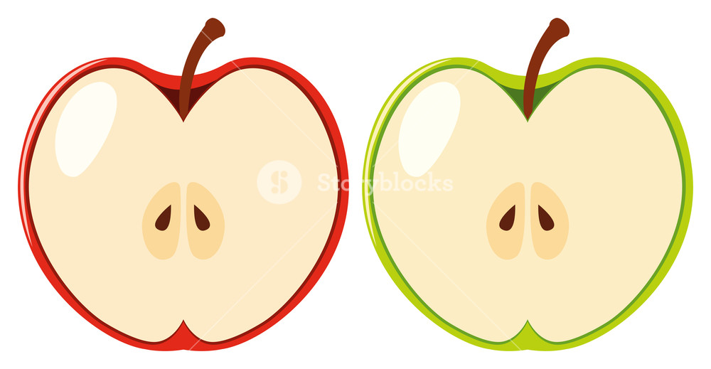 Red and green apples cut in half Royalty.
