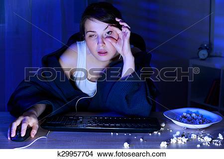 Stock Photo of Girl half sleep k29957704.