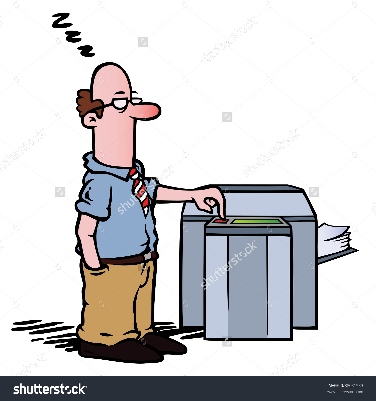 Employee Standing Half Asleep At The Copy Machine, Waiting For.