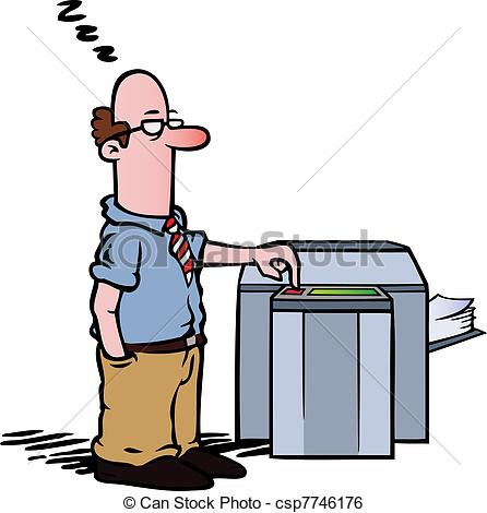Clip Art Vector of Employee at the copy machine.