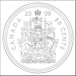 Clip Art: Canadian Money: Half Dollar B&W.