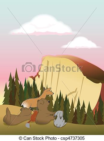 Clipart Vector of halfdome animals.