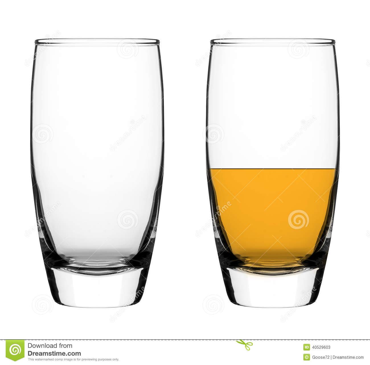 Empty And Half Empty Glass Stock Photo.
