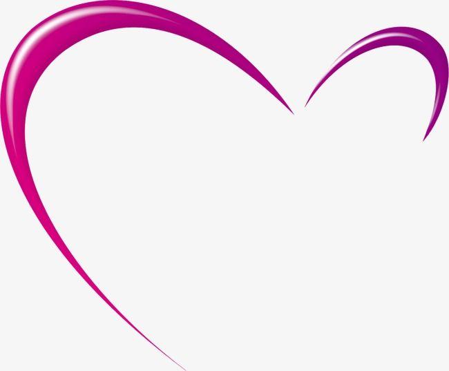 Purple Heart Decorative Pattern Half Heart Outline, Heart.