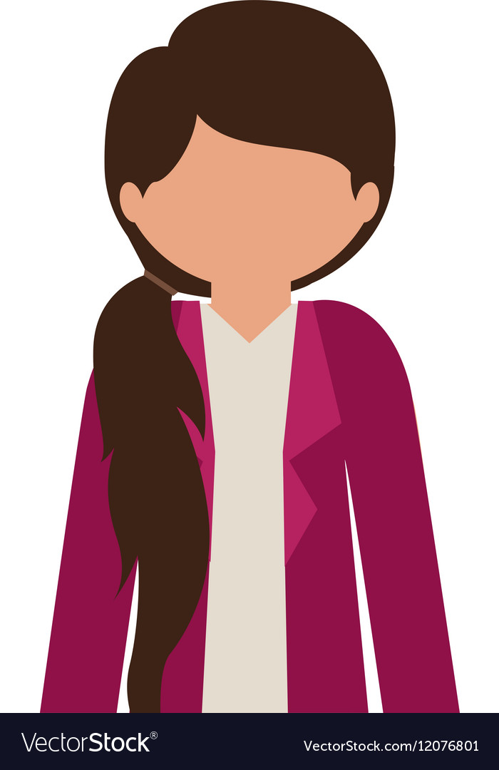 Silhouette half body girl with jacket without face.