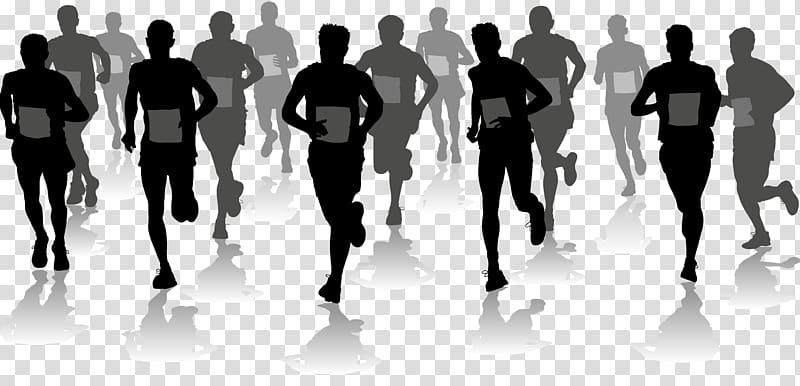People running at marathon art, Half marathon Running.