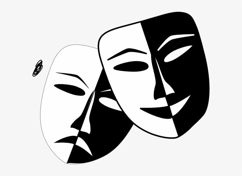Half Face Drama Mask PNG Image.