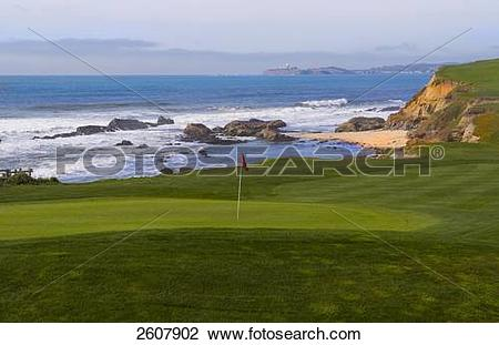 Stock Photo of Golf course at oceanside, Half Moon Bay, California.