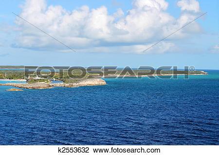 Stock Photo of View of Half Moon Cay, Bahamas k2553632.