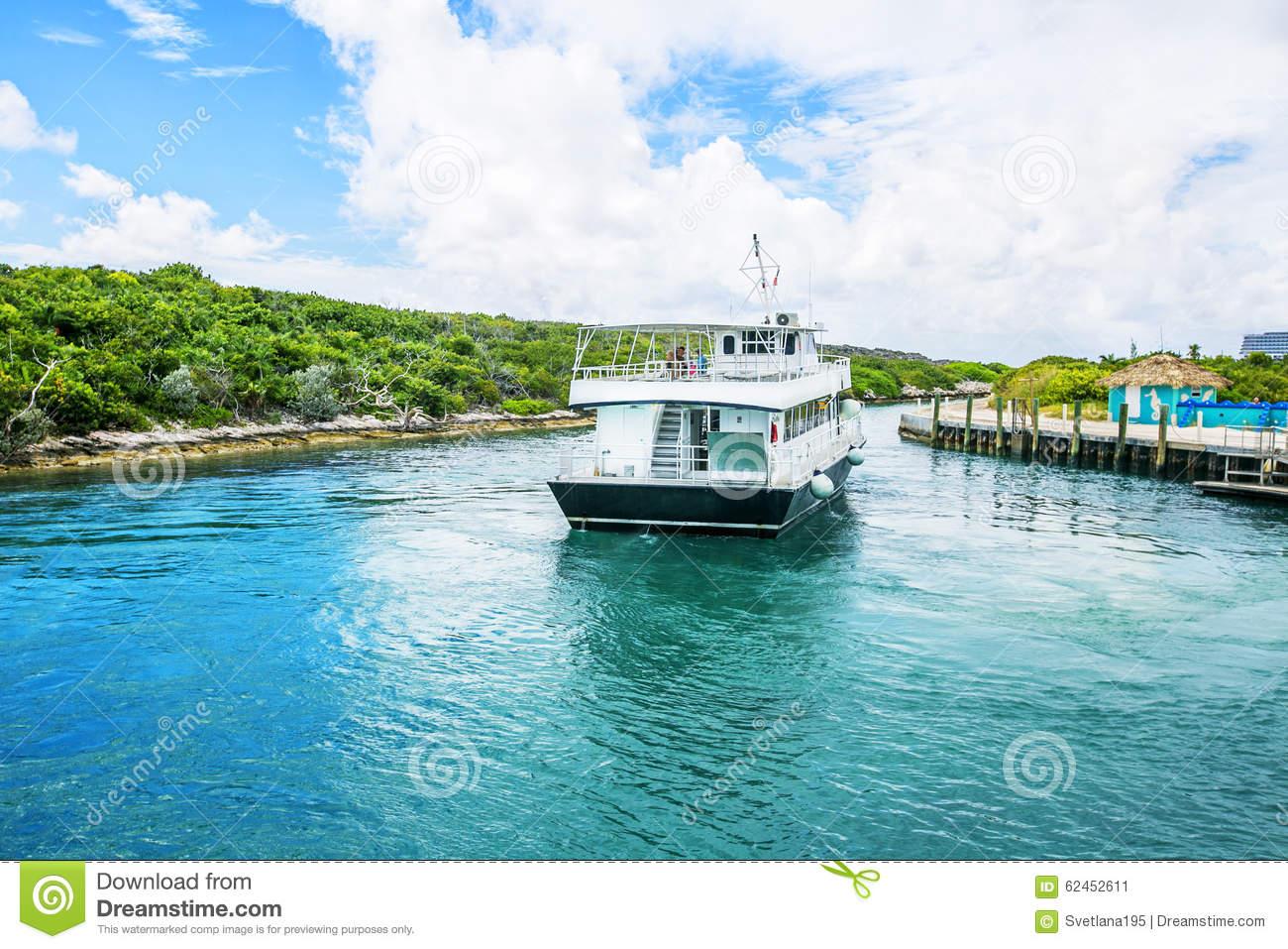 Docked Boat At Half Moon Cay In The Bahamas. Stock Photo.