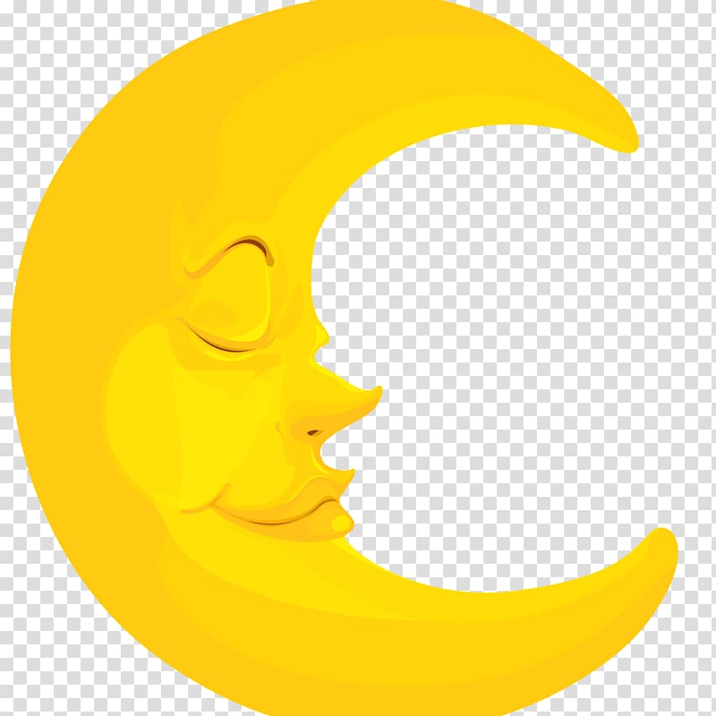Yellow half moon , Moon Crescent transparent background PNG.