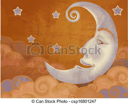Clipart Vector of Retro style half moon, clouds and stars.