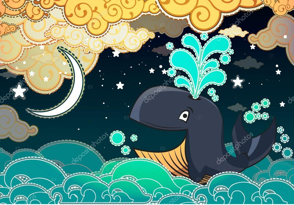 Cartoon style whale, night, half moon and clouds — Stock Vector.