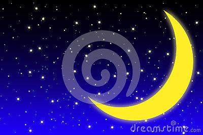 Half Moon And Stars On Dark Bright Royalty Free Stock Photos.