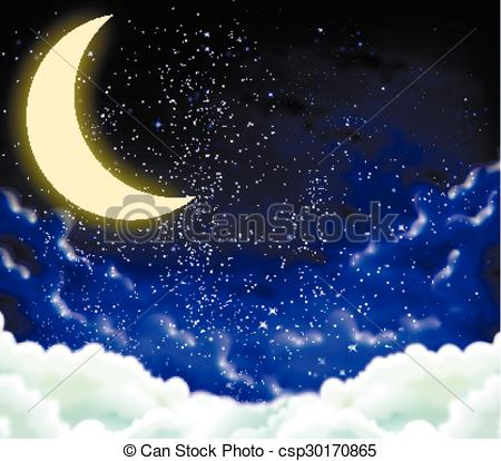 Clip Art Vector of crescent on a cloudy night sky.