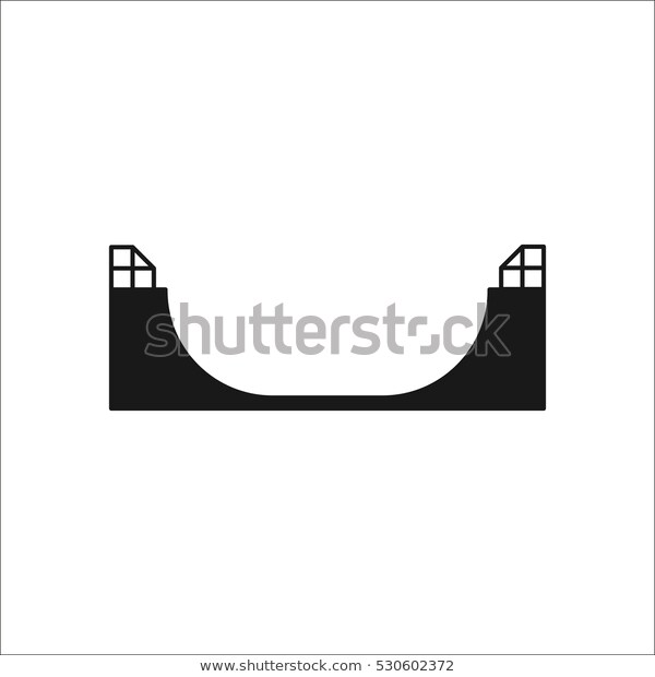 Skateboard Half Pipe Symbol Sign Silhouette Stock Vector (Royalty.