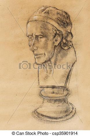 Clipart of Hand drawn head, Illustration half face. Gypsum bust.