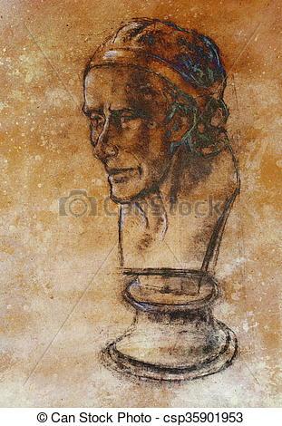 Stock Illustrations of Hand drawn head, Illustration half face.