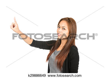 Stock Photograph of Side Profile Asian Woman Pressing Looking At.