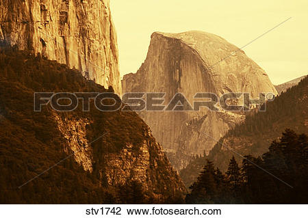Stock Photo of Half Dome in Yosemite National Park California.
