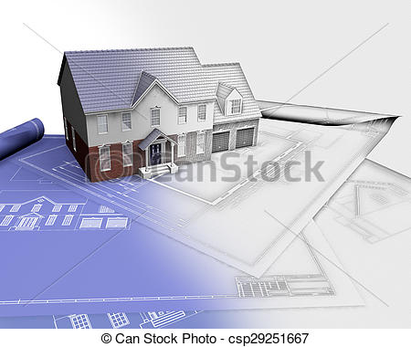 Stock Illustration of 3D render of a house on blueprints with half.