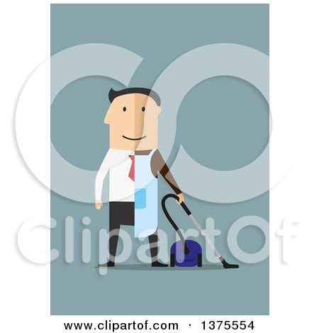 Clipart of a Flat Design White Man Dressed Half in a Suit, Half As.