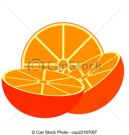 EPS Vectors of three pieces of orange cut in half in with.