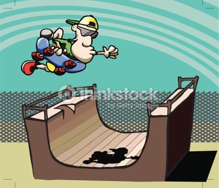 Skateur Halfpipe Clipart vectoriel.