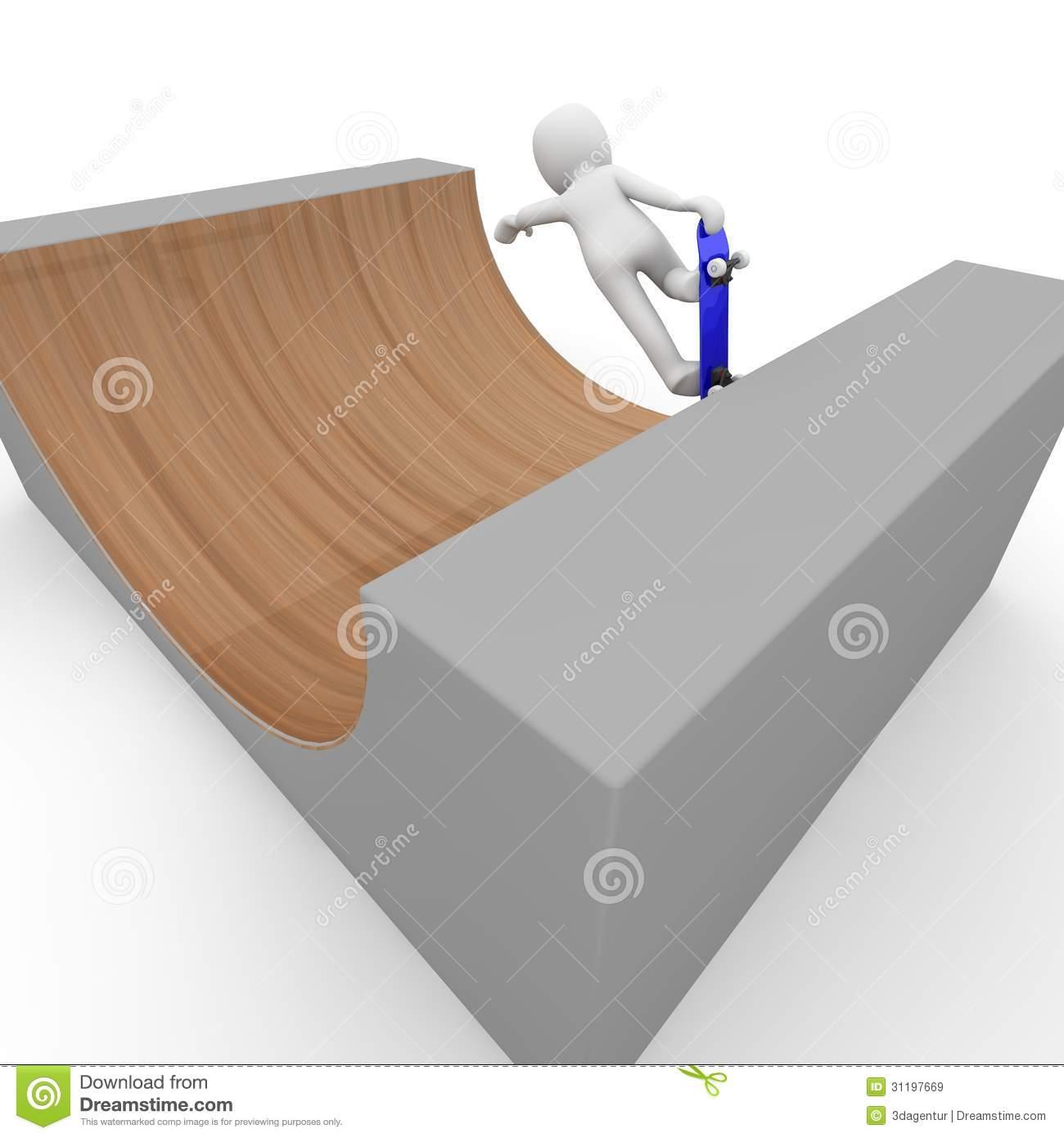 Halfpipe With Skateboard Stock Image.