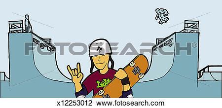 Skateboarding Half Pipe Clip Art.