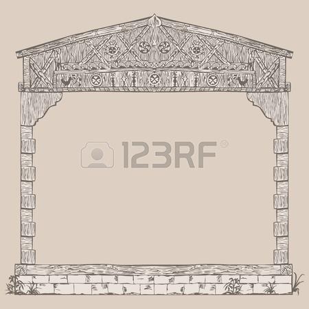 Illustration Frame Of Timber Framing House, Half.
