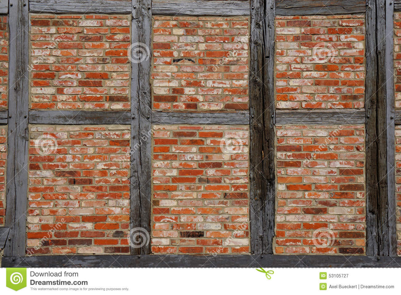 Timber Frame Wall Background Stock Photo.