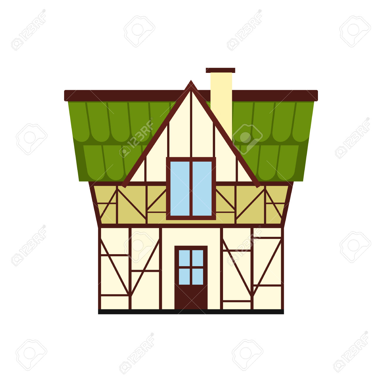 Half Timbered House In Germany Icon In Flat Style Isolated On.