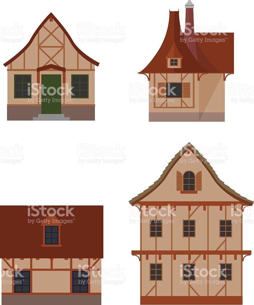 Halftimbered Houses Set stock vector art 532852292.