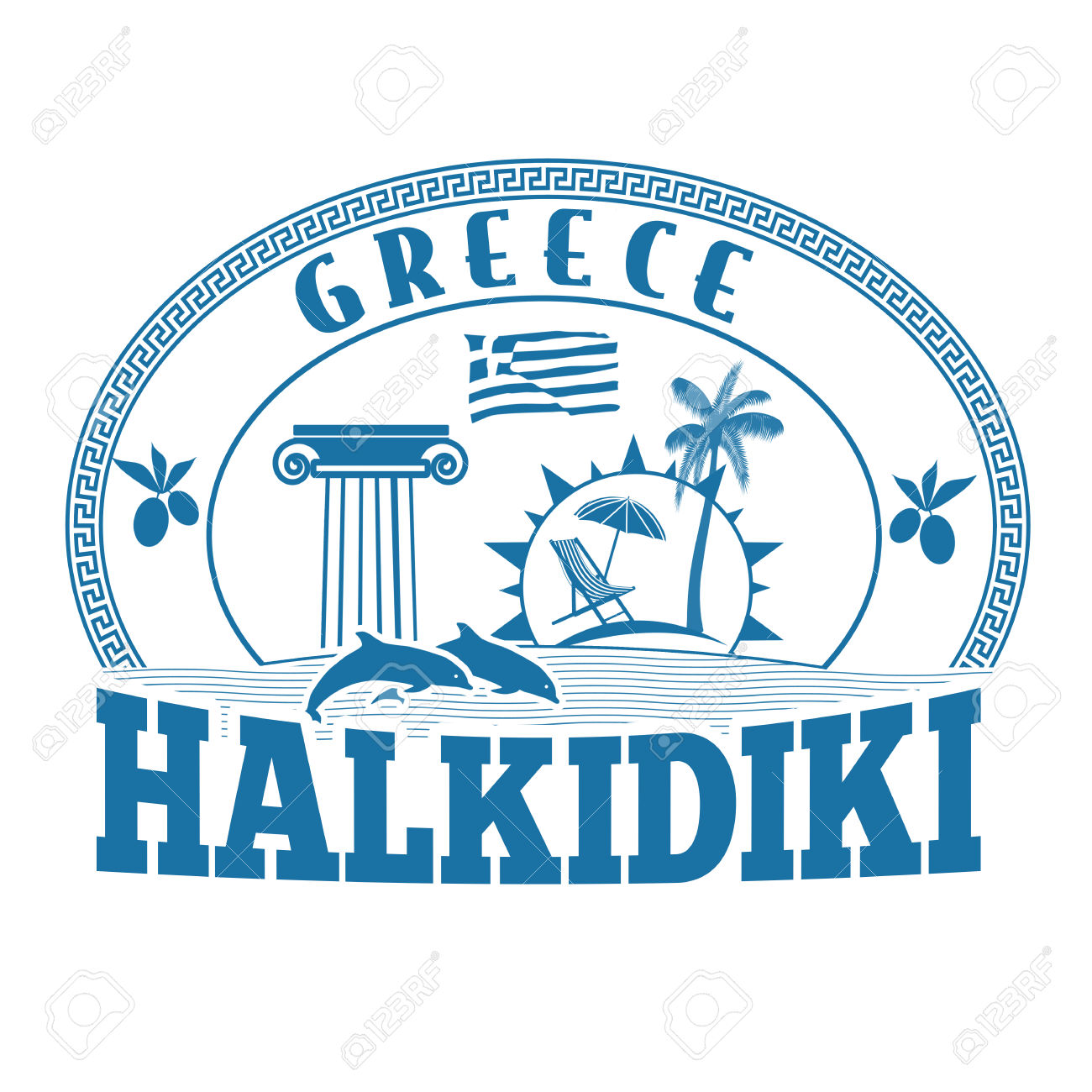 Halkidiki, Greece Stamp Or Label On White Background, Vector.