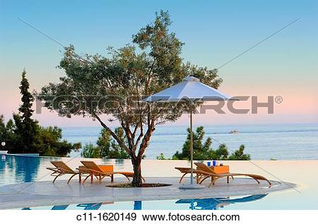 Stock Photograph of oceania club showing infinity swimming pool at.