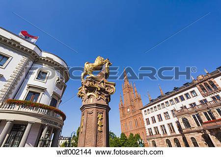 Stock Photo of Germany, Hesse, Wiesbaden, Fountain, Hessian.