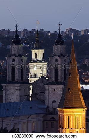 Stock Photography of Church of St. Francis Xavier and town hall.