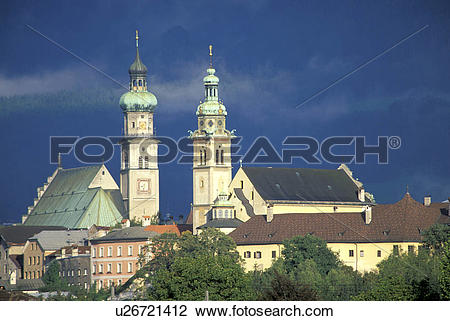 Stock Photo of tirol, towers, hall, morning, stormy, bell.