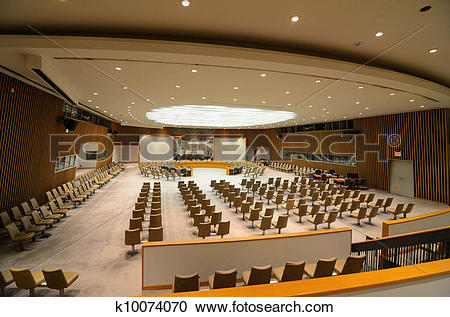 Stock Photography of United Nations Security Council Chamber.