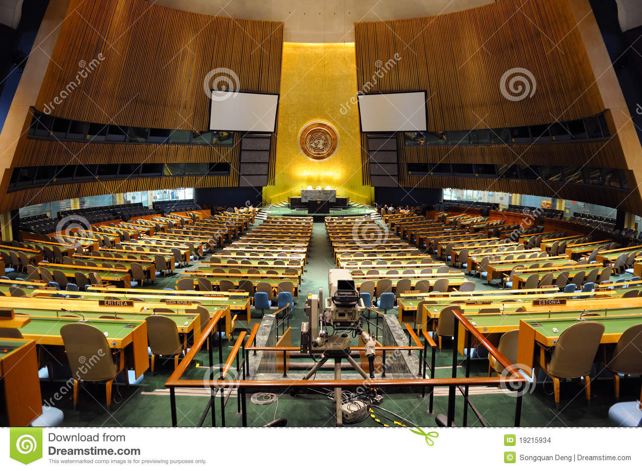 United Nations General Assembly Hall Editorial Stock Image.