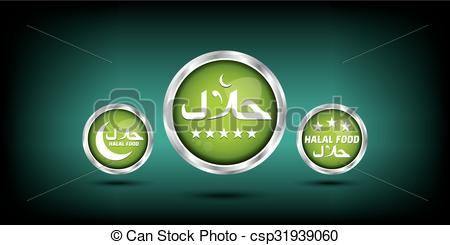 Clip Art Vector of green web buttons. halla label. csp31939060.