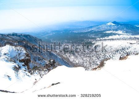 Hallasan Mountain Jeju Island Korea Winter Stock Photo 328219211.