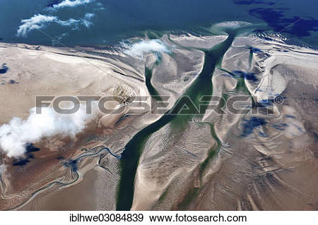"""Stock Photograph of """"Aerial view, tidal channel at Hallig Hooge."""