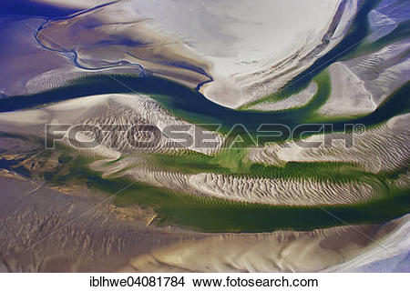 """Stock Photo of """"Aerial view, tidal creeks and sand dunes in the."""