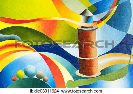 """Stock Photo of """"Hallig Langeness lighthouse, acrylic picture."""