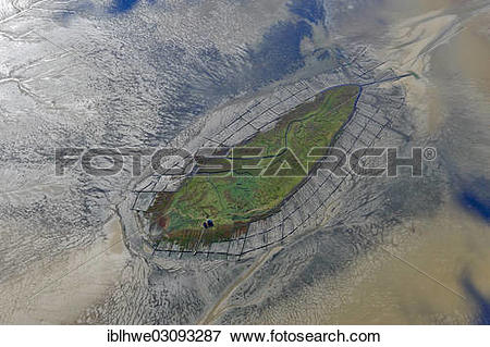 """Picture of """"Aerial view, Hallig Norderoog, small island, Norderoog."""