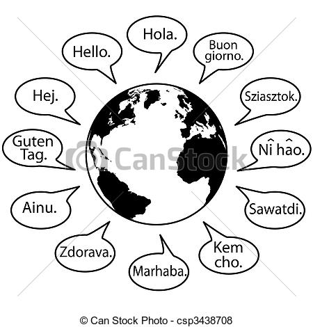 Vector of Translate Earth Languages say Hello World in speech.