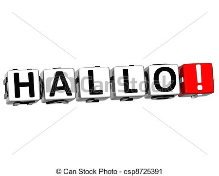 Clipart of 3D Hallo block text on white background.