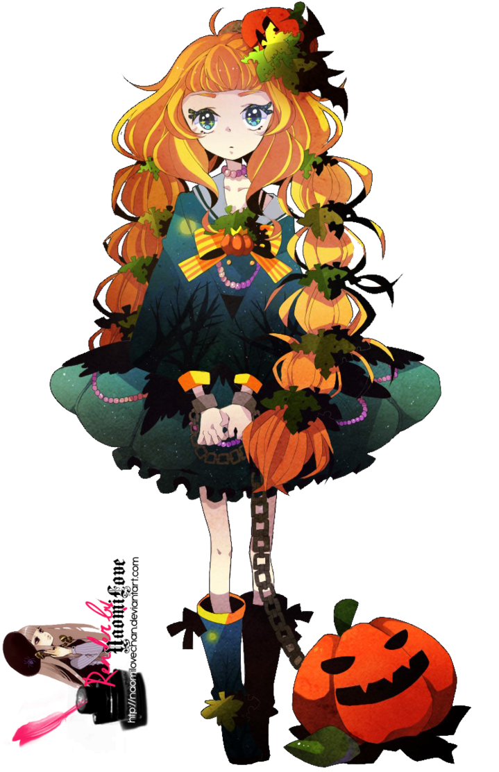 halloween anime girl render.